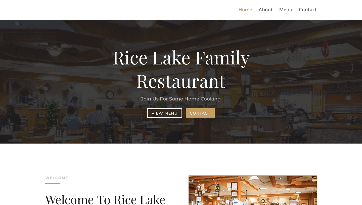 Rice Lake Family Restaurant Website Screenshot