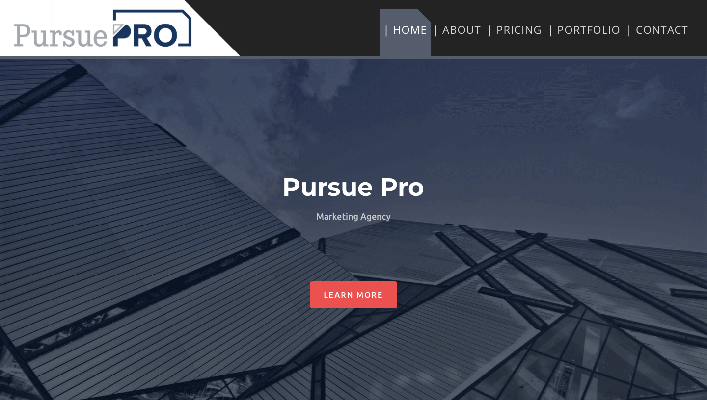 Pursue Pro Website Screenshot